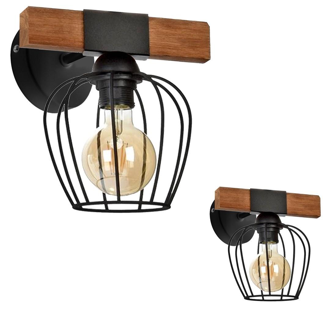 Wall lamp Ozzy Black / Wood 1x E27 60 W