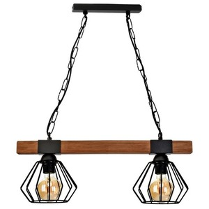 Hanging lamp Ulf Black / Wood 2x E27 60 W small 1