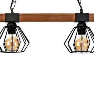 Hanging lamp Ulf Black / Wood 2x E27 60 W small 2