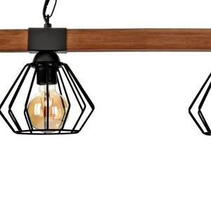 Hanging lamp Ulf Black / Wood 2x E27 60 W small 3