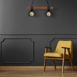 Hanging lamp Ulf Black / Wood 2x E27 60 W small 4