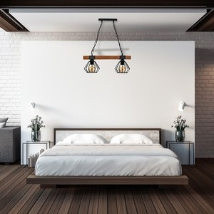Hanging lamp Ulf Black / Wood 2x E27 60 W small 5
