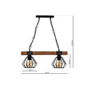 Hanging lamp Ulf Black / Wood 2x E27 60 W small 6