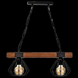 Hanging lamp Ulf Black / Wood 2x E27 60 W small 7