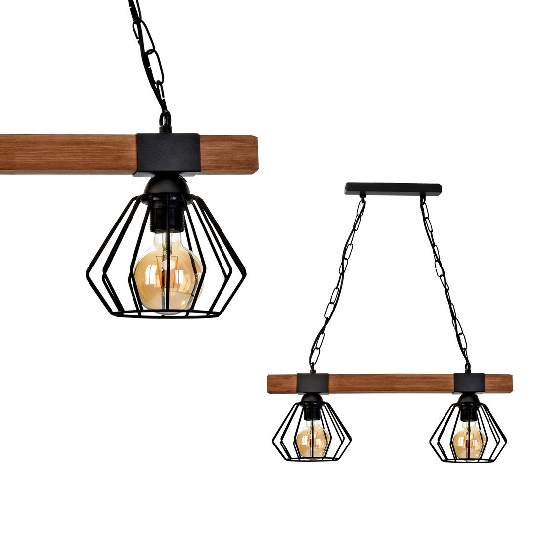 Hanging lamp Ulf Black / Wood 2x E27 60 W