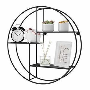 Round wall shelf, 3-tier black LFS01BK small 2