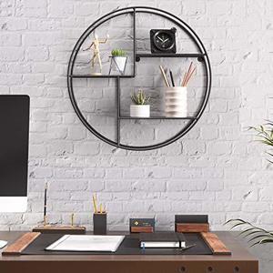Round wall shelf, 3-tier black LFS01BK small 0