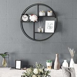 Round wall shelf, 3-tier black LFS01BK small 3