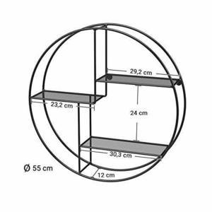 Round wall shelf, 3-tier black LFS01BK small 5
