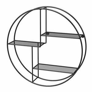 Round wall shelf, 3-tier black LFS01BK small 1