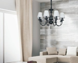 Black Verona chandelier with 6 white lampshades small 1
