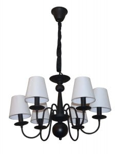 Black Verona chandelier with 6 white lampshades small 0