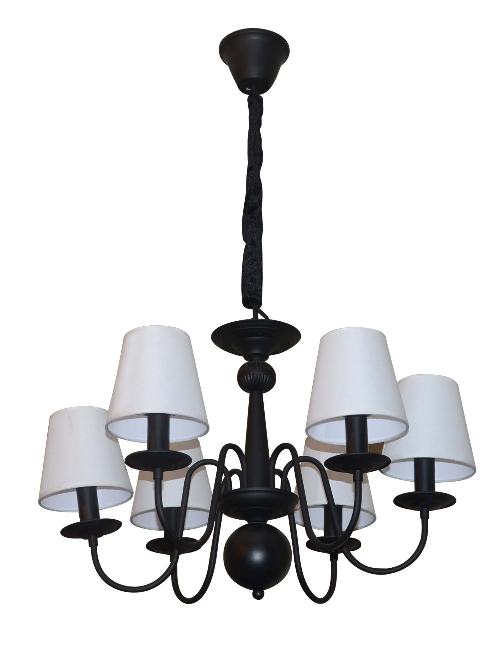 Black Verona chandelier with 6 white lampshades