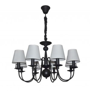 Black chandelier Verona with 8 white lampshades small 0