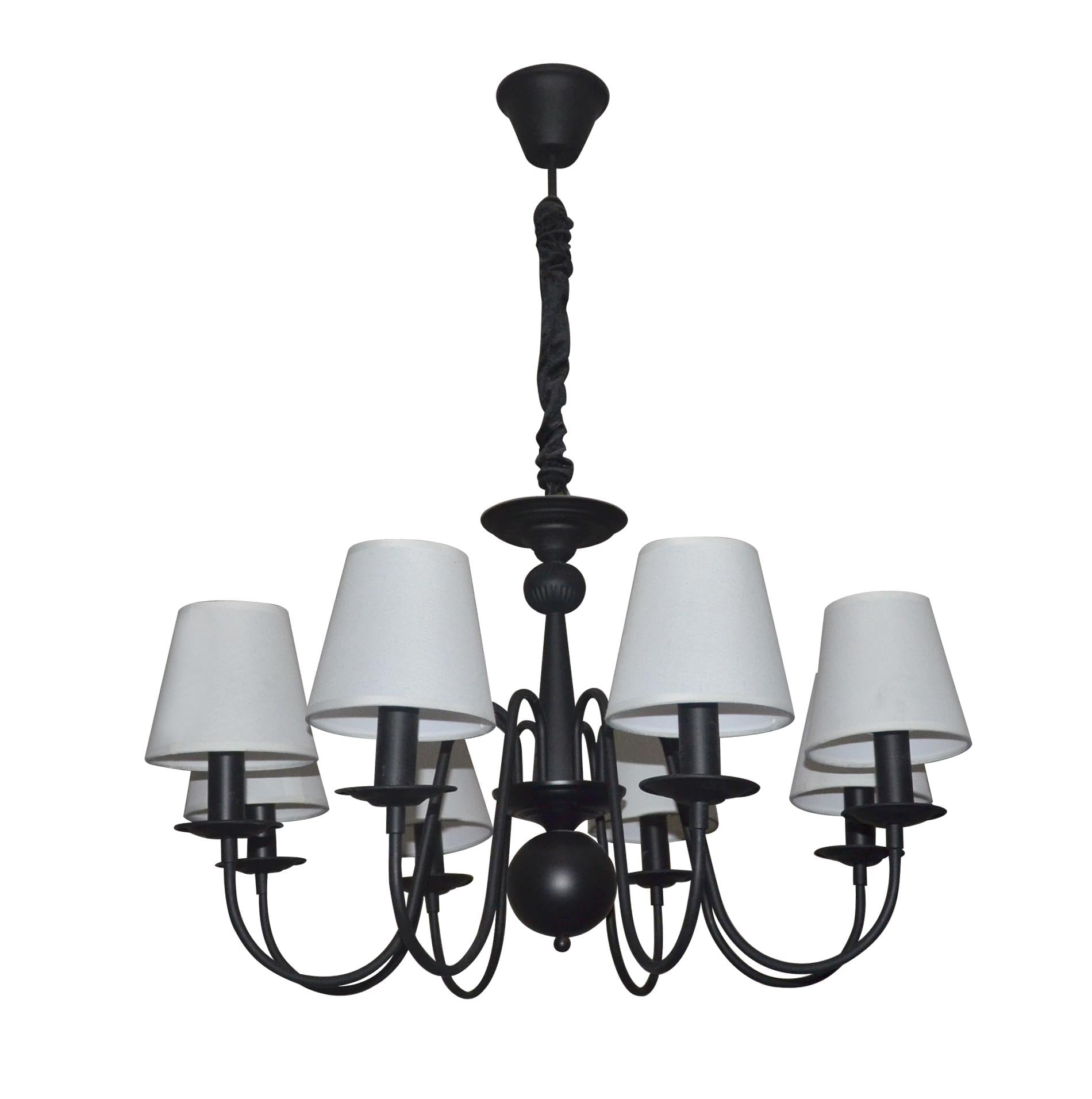 Black chandelier Verona with 8 white lampshades