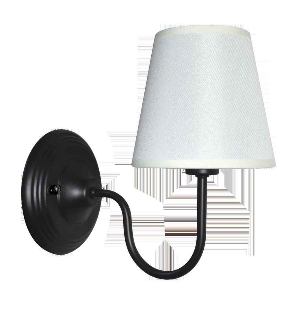 Black Wall lamp Verona minimalist with white shade
