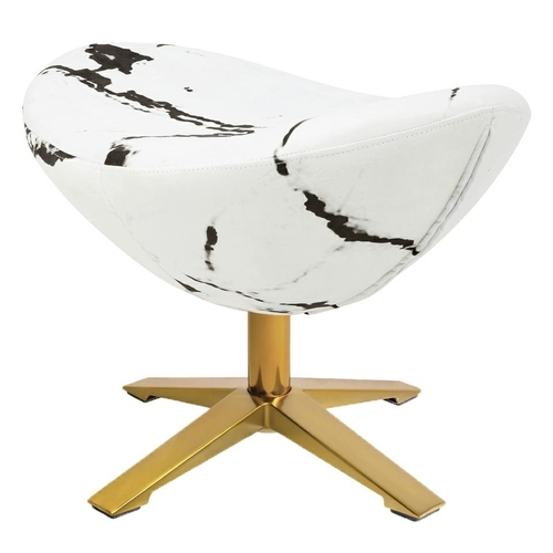 EGG WIDE MARBLE GOLD footrest - fabric, steel base