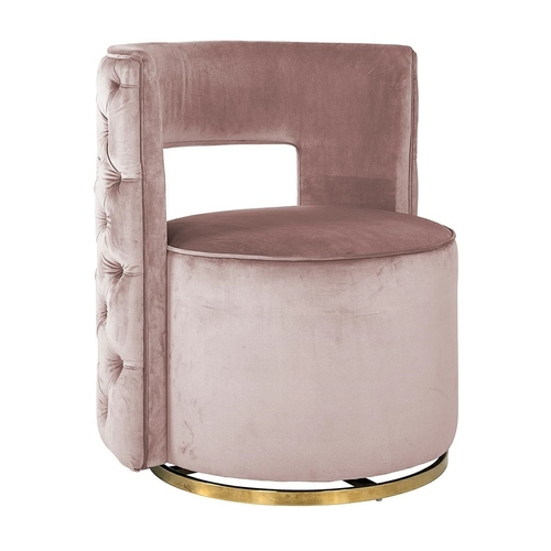 RICHMOND swivel armchair JAMIE PINK VELVET gold base