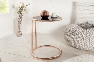 INVICTA table ART DECO copper - metal, glass small 2