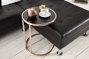 INVICTA table ART DECO copper - metal, glass small 3