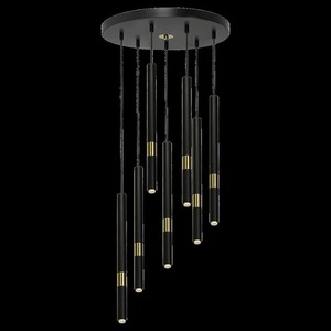 Hanging lamp Monza Black / Gold 7x G9 8 W small 7