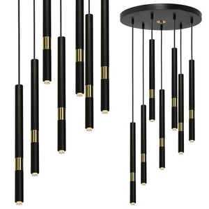 Hanging lamp Monza Black / Gold 7x G9 8 W small 0