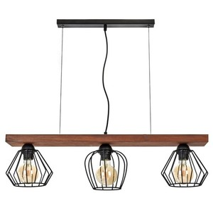 Hanging lamp Ozzy Black / Wood 3x E27 60 W small 1