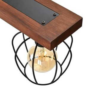 Hanging lamp Ozzy Black / Wood 3x E27 60 W small 2