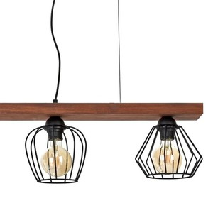 Hanging lamp Ozzy Black / Wood 3x E27 60 W small 4