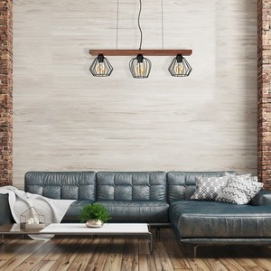 Hanging lamp Ozzy Black / Wood 3x E27 60 W small 5
