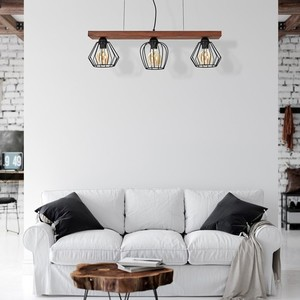 Hanging lamp Ozzy Black / Wood 3x E27 60 W small 6