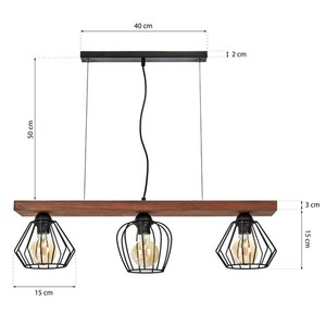 Hanging lamp Ozzy Black / Wood 3x E27 60 W small 7