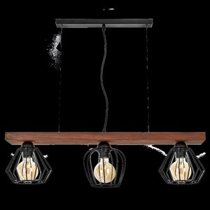 Hanging lamp Ozzy Black / Wood 3x E27 60 W small 8