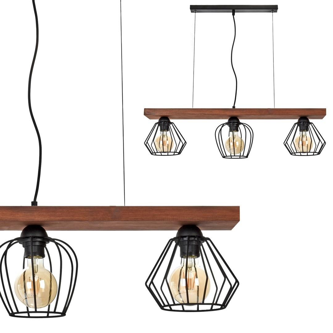 Hanging lamp Ozzy Black / Wood 3x E27 60 W