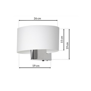 Casino White / Chrome 1x E27 wall lamp small 6
