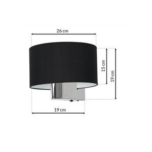 Casino Black / Chrome 1x E27 wall lamp small 6