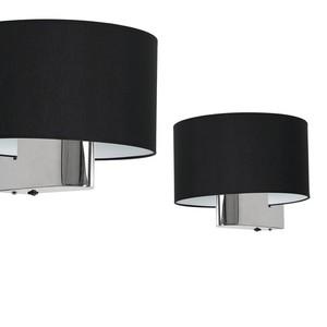 Casino Black / Chrome 1x E27 wall lamp small 0