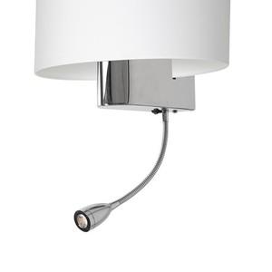 Casino White / Chrome 1x E27 + 1 W Led wall lamp small 3