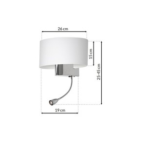 Casino White / Chrome 1x E27 + 1 W Led wall lamp small 6