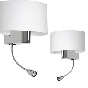 Casino White / Chrome 1x E27 + 1 W Led wall lamp small 0