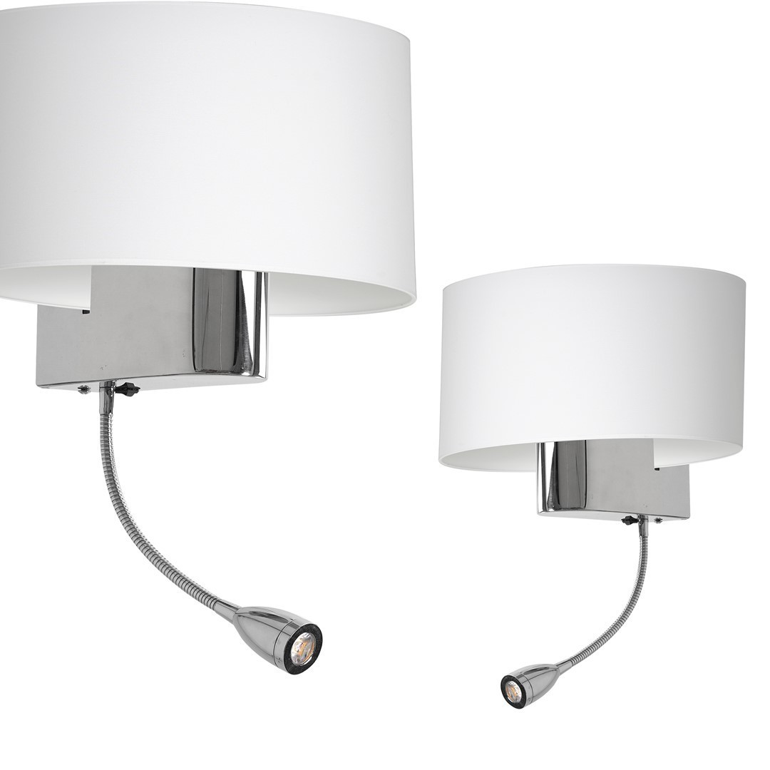 Casino White / Chrome 1x E27 + 1 W Led wall lamp