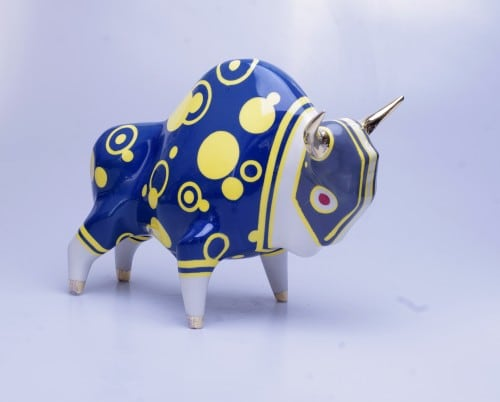 Żubr XL model Fetish Rain, ceramics painted with glaze, glazed, overglaze, gold plated