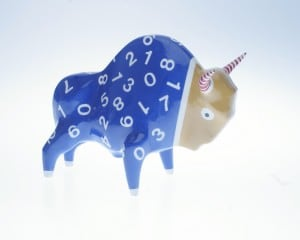 Żubr XL, Numbers model, glazed ceramics, painted overlays small 1
