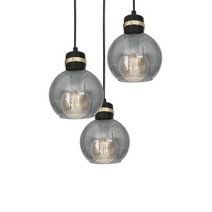 Hanging lamp Omega Black / Gold 3x E27 small 3