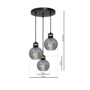 Hanging lamp Omega Black / Gold 3x E27 small 6