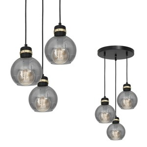 Hanging lamp Omega Black / Gold 3x E27 small 0