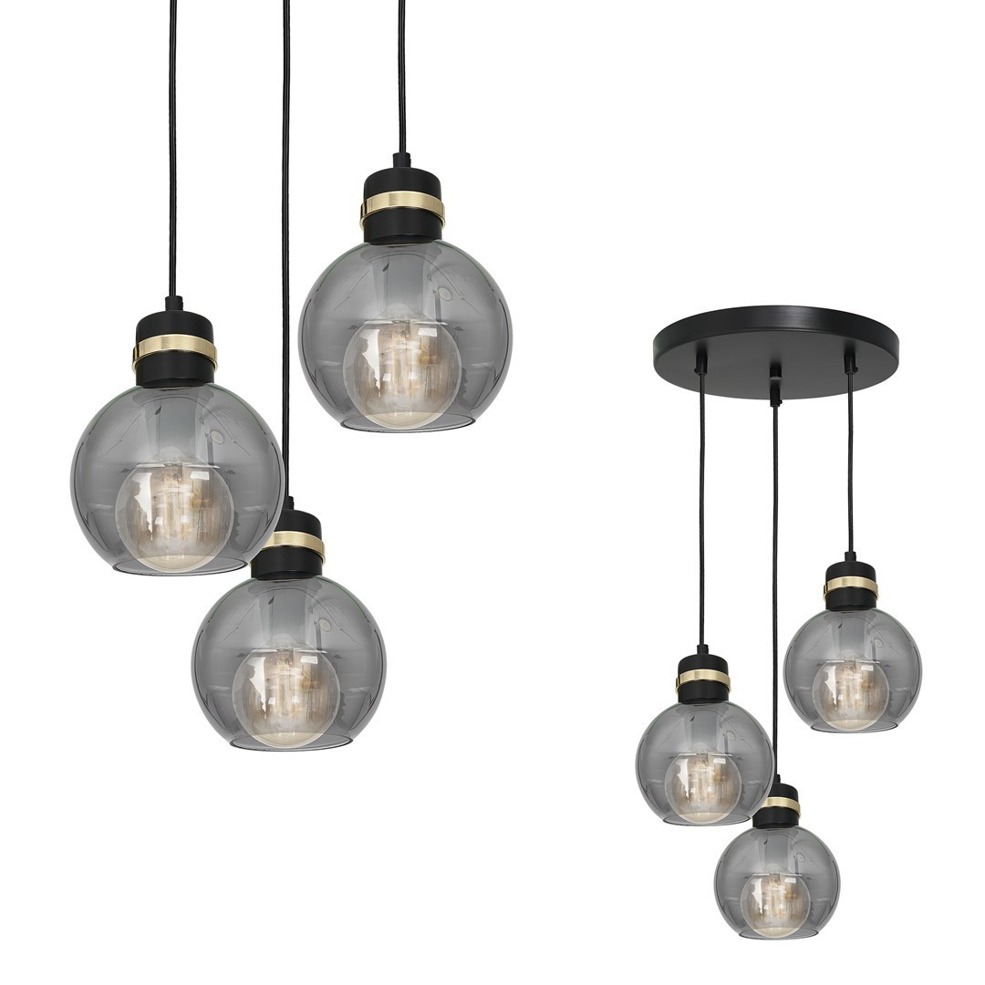 Hanging lamp Omega Black / Gold 3x E27