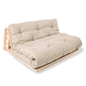 FUTON Layti 140 sofa bed raw wood - cream small 1