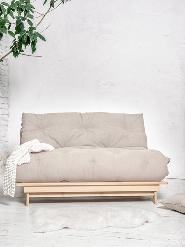 FUTON Layti 140 sofa bed raw wood - cream