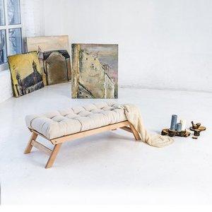 Allegro bench, raw wood - cream small 1
